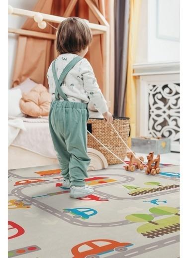 Hamur Road 150x150 cm Oyun Matı Bebek ve Çocuk Halısı Gri